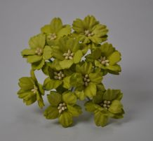 LIME GREEN GERANIUM (2.0 cm) Mulberry Paper Flowers